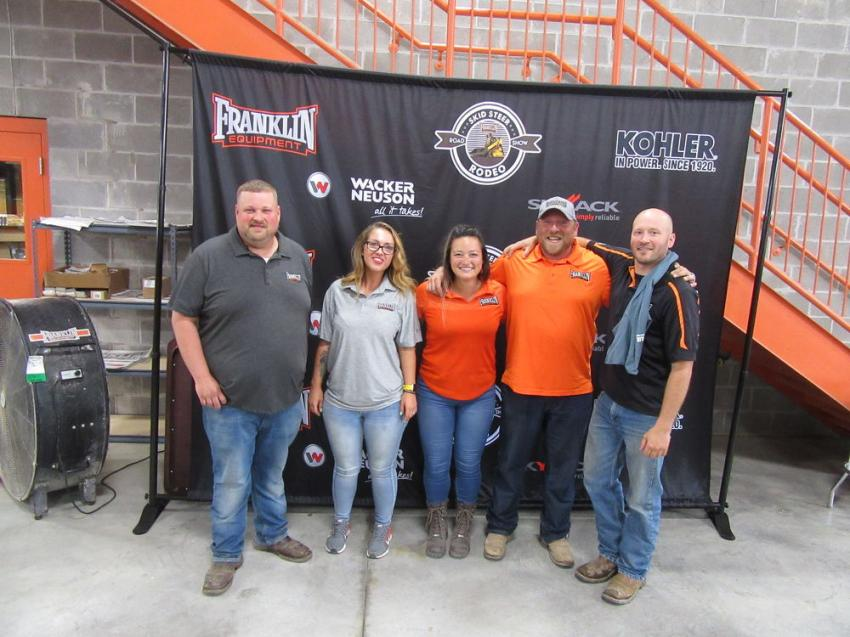 (L-R): Franklin Equipment Indianapolis Branch Manager Brandon Cutshaw is joined by his branch team members Autumn Knauss, Ashley Marks, Ryan Frazier and Zach Keller to welcome attendees to the skid steer rodeo.