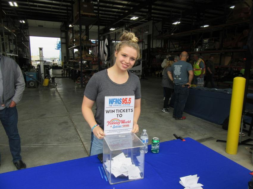 Allison Witucki of Country Radio Station WFMS 95.5 invited attendees to enter a drawing for tickets to Holiday World and Splashin' Safari at the event.