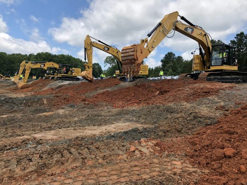 Testing out a group of Caterpillar's excavators.