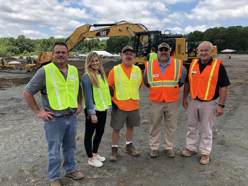 (L-R): Chad, Jaida and Neal Wesson of Two Brothers Utility in Shelby, N.C. meet up with Ben Patrick of Carolina Cat and Caterpillar's Scott Thomas.