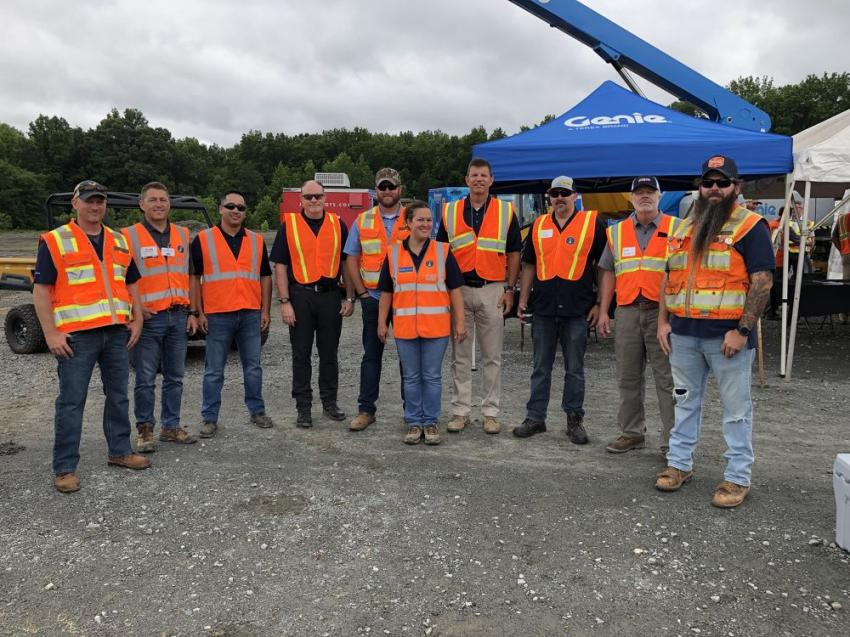 Sitech Mid-Atlantic was on hand to offer guidance on aftermarket Earthworks machine control solutions and SiteWorks jobsite GPS infrastructure products. (L-R) are Travis Waller and John Balanda, Sitech Mid-Atlantic; Carlos Ramirez and Rod Elliott, Trimble; Josh Ayers and Becky Huskins, Sitech Mid-Atlantic; Paul Thomas, Trimble; Dave Schoenfeld, Propeller Aero; Randy Rohrer and Kyle Myers, Sitech Mid-Atlantic.