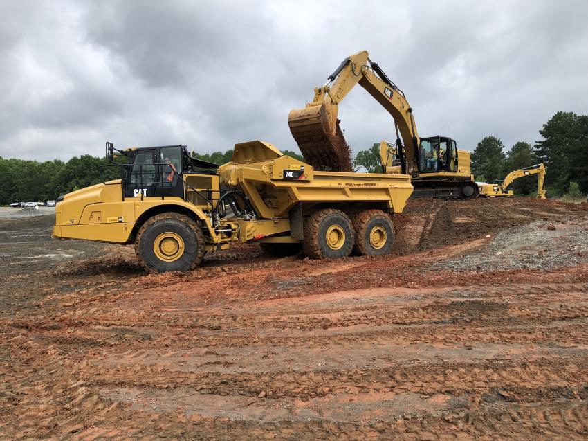 The Cat 740EJ artic truck and Cat 336 excavator.