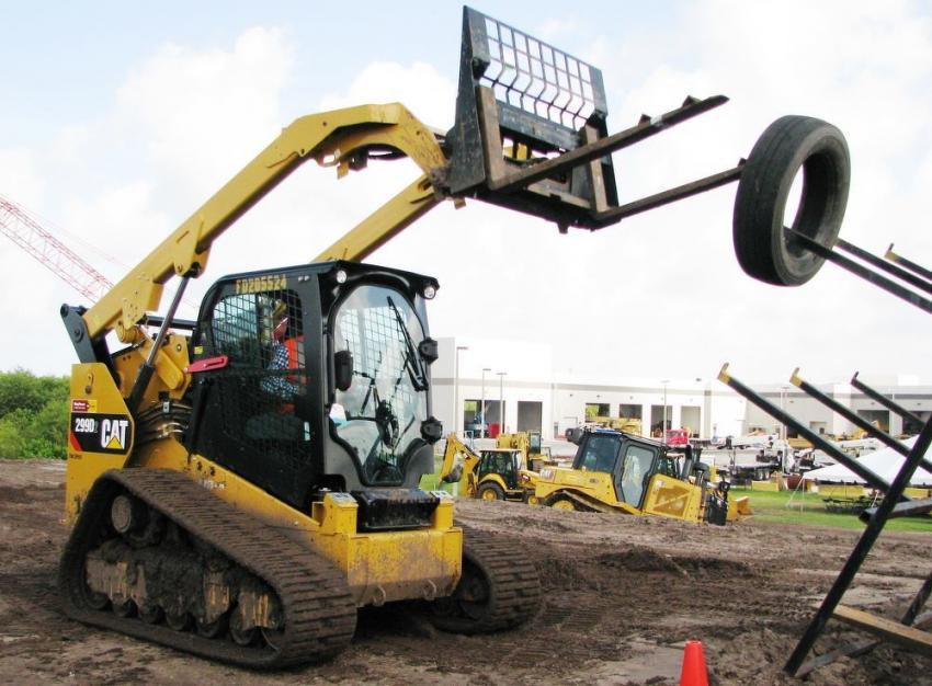 Part of the competition included an agility challenge using a Caterpillar 299D2 compact track loader.
