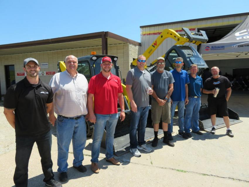 "(L-R): Andy Hippler, general manager on-highway sales, Central Power; Ray Hodson, sales – construction division, Central Power; Justin Karleski, construction sales, Central Power; Robin Roberts, chairman/CEO, Central Power; Jerry ""Monza"" Johnston of Street Outlaws;  Allen Bruflodt, general services manager, Central Power; Wayne Morgan, branch manager of Salina, Kan., Central Power; and Joe ""Dominator"" Woods of Street Outlaws."