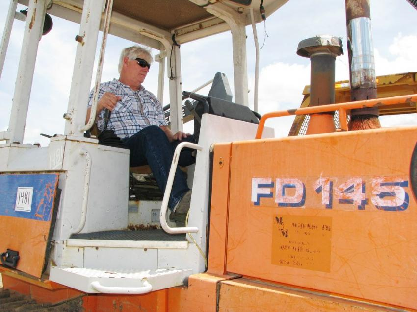Testing out a well-preserved Fiat-Allis FD 145 dozer is Randy Allen of Allen Trucking, Columbus, Miss.