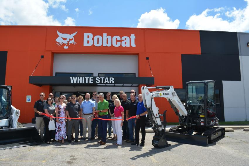 Walter Berry, CEO of Berry Companies Inc., cut the ribbon for grand opening of the Tulsa location. Also at the event was Whitestar Machinery's Mike Cologgi, Lisa Peterson, Matt Dressman and Tyler Brake; Berry Companies' Judy Worrell, Steve Meadows and Mike Sanders; and Doosan Financial's Jim Marchman.