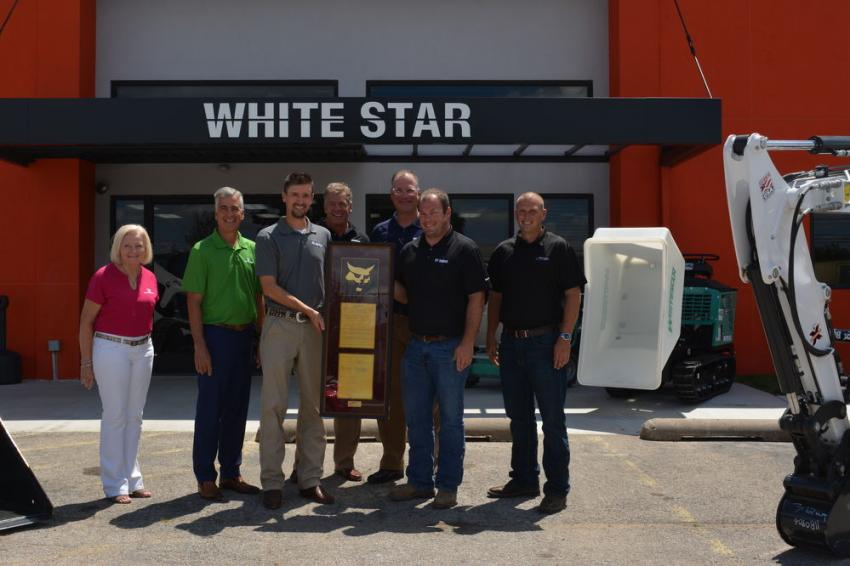 Whitestar was recognized by Bobcat for 50 years of representing the brand as a dealer.  (L-R) are:  Judy Worrell, Berry Companies; Walter Berry, Berry Companies; Justin Cain, Bobcat Company; Jim Marchman, Doosan Financial; Steve Meadows, Berry Companies; Tyler Brake, Whitestar Machinery; and Matt Dressman, Whitestar Machinery.