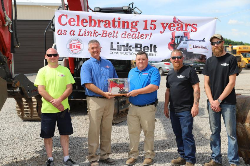 (L-R): Bill Do, George & Swede mechanic; Greg Newell, George & Swede president; Jamie Fogg, Link-Belt Northeast service representative; Steve O'Shea, George & Swede service manager; and AJ Cutcliffe, George & Swede mechanic, receiving an excavator award for 15 years as a Link-Belt dealer.