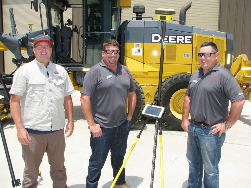 (L-R): Leica Geosystems southeast regional managers and representatives Dwayne Sawyer, Brandon Faulkner and Kert Parker brought a great display of their machine control products and technology for grading accuracy.