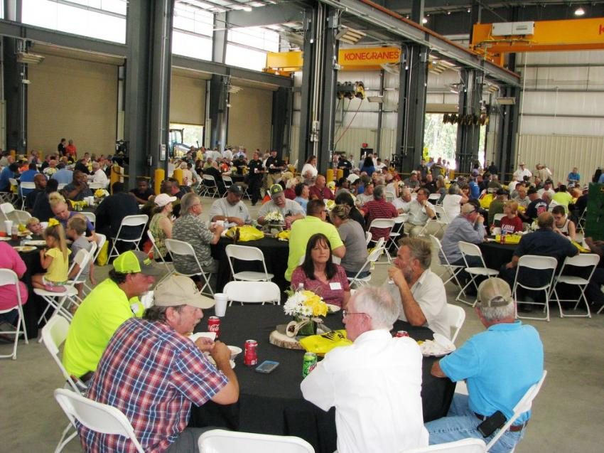 The shop area was jam-packed with approximately 600 guests enjoying a catered lunch and lots of fun in commemorating the grand opening of the newest Warrior Tractor branch.