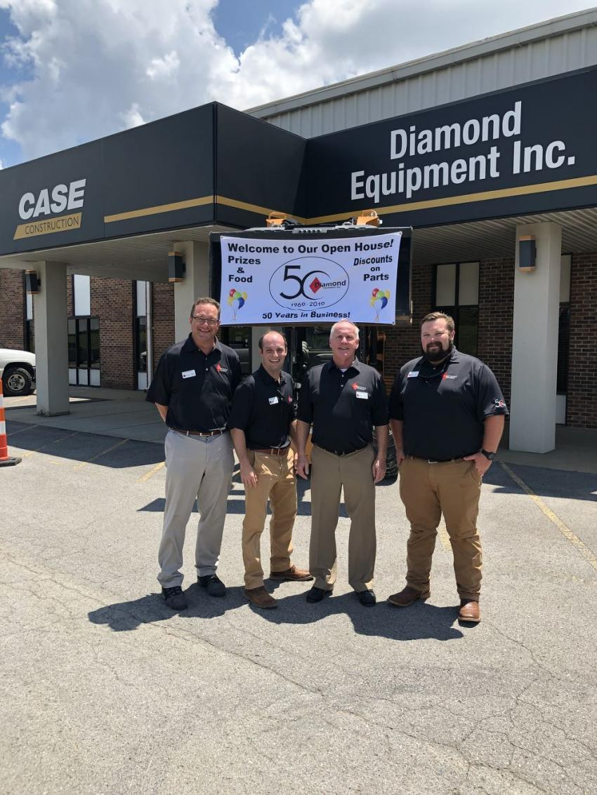 Welcoming their customers to the 50th anniversary celebration (L-R) are Bob Brucken, Travis Clement, Carl Chandler and Ranzy Davis of Diamond Equipment.