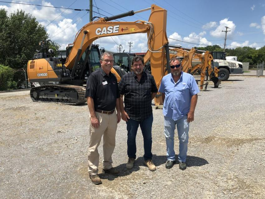 The company had a good selection of Case excavators on hand for its guests to look over.  (L-R) are Craig Feldner of Diamond Equipment; Marlon Cunningham of Cunningham Construction & Development in Nashville and Jeff Donegan of the city of Brentwood, Tenn.