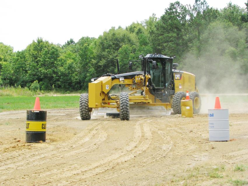 This fast-paced run at the Cat motorgrader challenge by Jamie Carter of Carter Construction, Lynn Haven, Fla., was one of day two's best runs for this event.