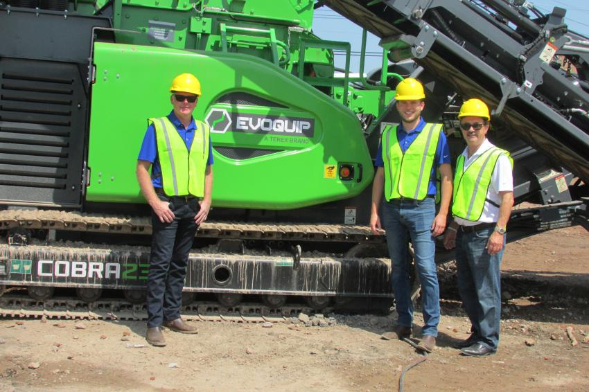 (L-R): Alan Coalter, president; Connor Cobane, sales manager; and Michael Hughes, sales representative, all of Powerscreen Crushing and Screening, Louisville, Ky.
