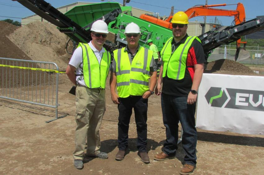 (L-R); Matt Dickson, business line director of Terex Evoquip; Seamus Sheelan, president of Powerscreen of New England; and Cathal Sheelan, vice president of Powerscreen of New England.