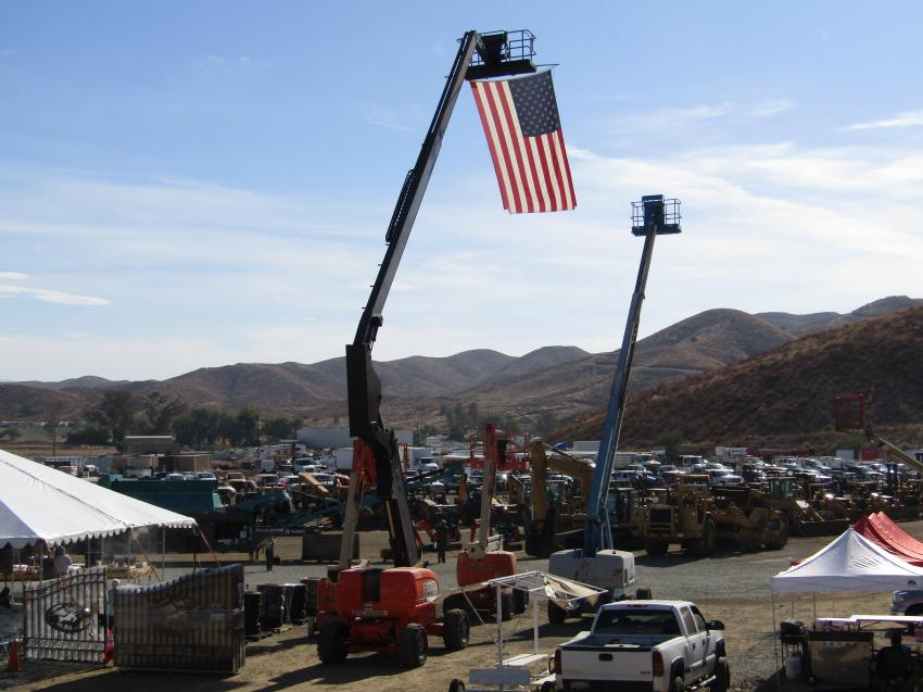 Vantage Auction readies for the sale by raising the flag.