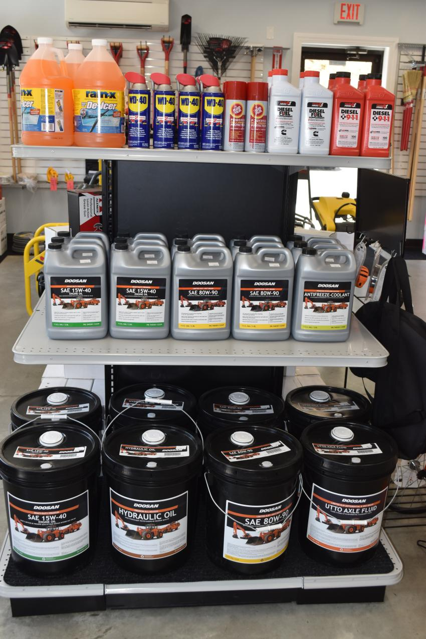 While you're there, make sure you check out the inventory of every imaginable lubricant or fluid needed on today's job site.