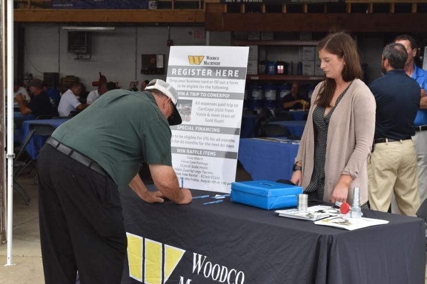 As attendees arrive, they are given the opportunity to register for door prizes provided by Woodco Machinery and for the chance to win an all expense paid trip to ConExpo to meet the stars of Gold Rush.