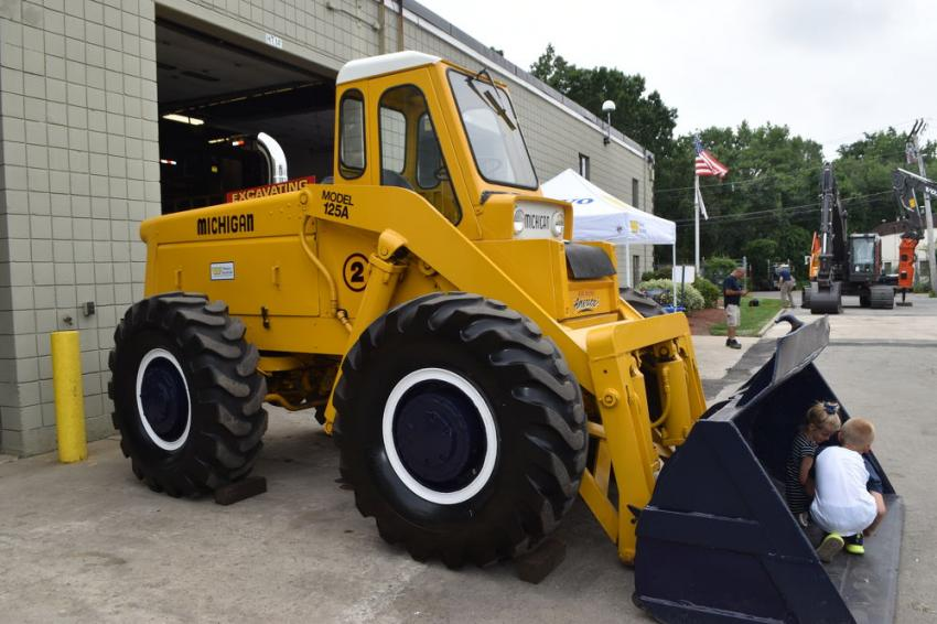 A vintage Michigan model 125A loader sits on display in front of the Woodco Machinery service department. Volvo purchased Michigan and Euclid, which was at one time referred to as a VME loader.