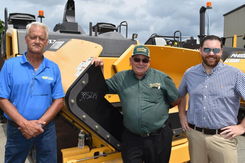 Taking a look at the latest paving technology from Volvo (L-R) are Bob Leach, paving specialist of Woodco Machinery; Gary Tavares of Francisco Tavares Inc. in Cape Cod, Mass.; Mike Galambos, inside sales of Woodco Machinery.