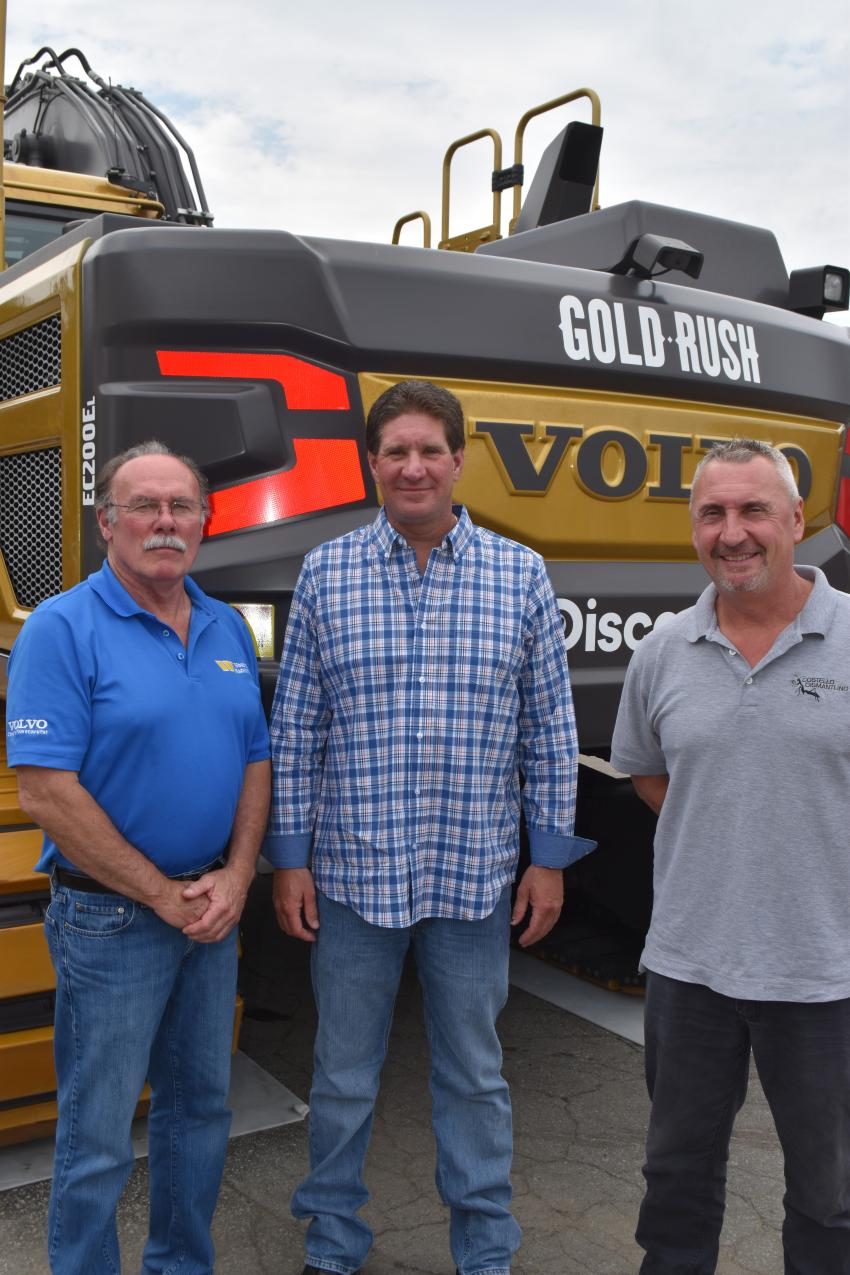 Already big fans of Volvo products, these gentlemen enjoyed the opportunity to get so close to a lot of gold.  (L-R) are Bob Rosa of Woodco Machinery; Shawn Rae of Costello Dismantling in Wareham, Mass; and Hal Monsini, also of Costello Dismantling.