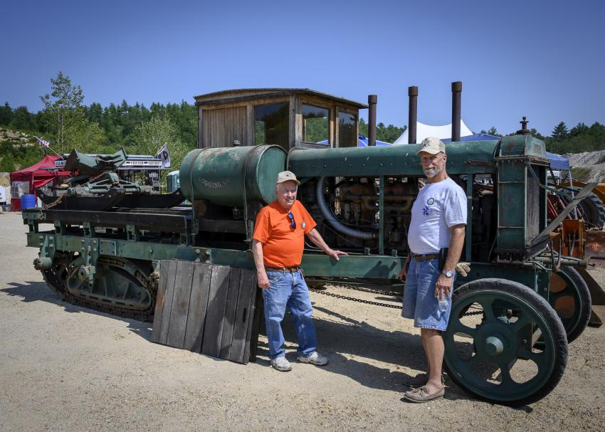 Former Northeast Rockbusters president, Sam Sicchio (L) and current president, Ted Valpey, in front of the 1916 Lombard logger from Johnson Logging Company.