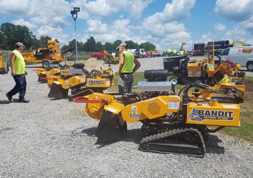 Stump grinders from Bandit lined the one side of Stephenson's dealership, with sizes and options for any size tree service operation.