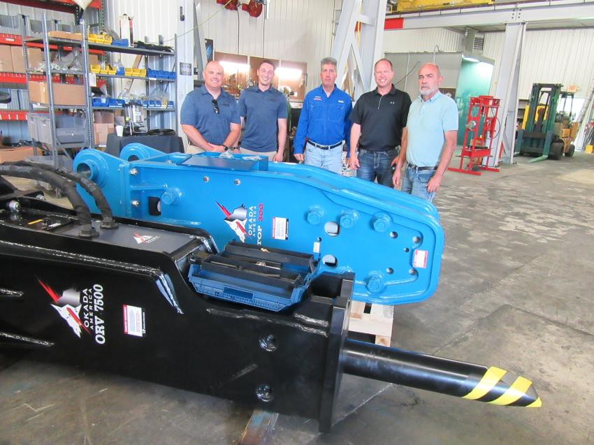 (L-R): Okada America's Northeast/Eastern Canada Regional Manager Mike Kane and Midwest Regional Manager Adam Daher were joined by Reco Equipment's Brian Stipkovich, Jason Mayberry and Gary Estes for a tour of the facility.