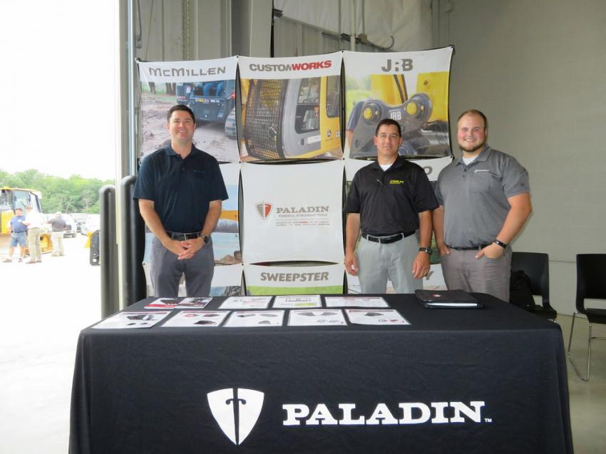 (L-R): Mark Baltes, John Janiro and Jacob Ayers of Stanley Infrastructure, which recently purchased Paladin Attachments, were on hand to answer any questions about the attachment product line.