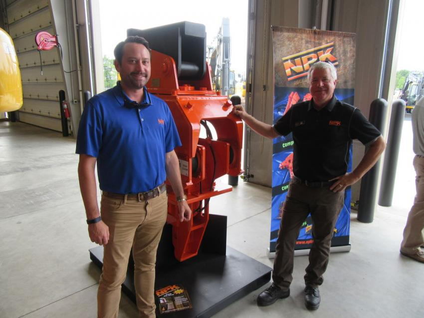 Among the equipment on display from NPK Construction Equipment was this C-6CSD sheet pile driver, presented by NPK's Andrew Szafraniec and Ken Skala.