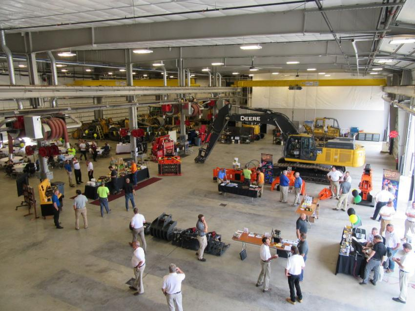 The service area features 11 service bays with two 10-ton cranes, a wash bay and an overhead storage bay.