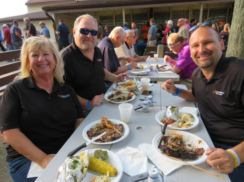 (L-R): Ritchie Bros' auctioneers Debbie Gallagher, Scott Harper and Dan Powers were happy to attend CAWGC's Annual Steak Fry.