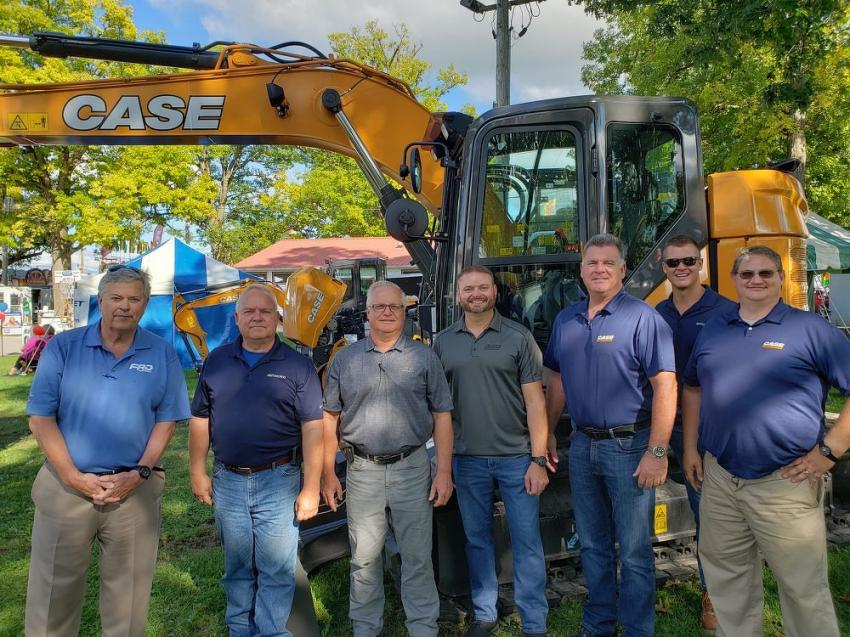 Gathered around a Case CX145DSR at the McCann Industries display area (L-R) are Tim Carroll, regional sales manager of FDR Furukawa; Ray Sullivan of McCann Industries; Steve Costello of McCann Industries; Tom Hagen of Case Construction; Ken Schmidt of McCann Industries; Ryan Carr of McCann Industries; and JR Boerner of McCann Industries.