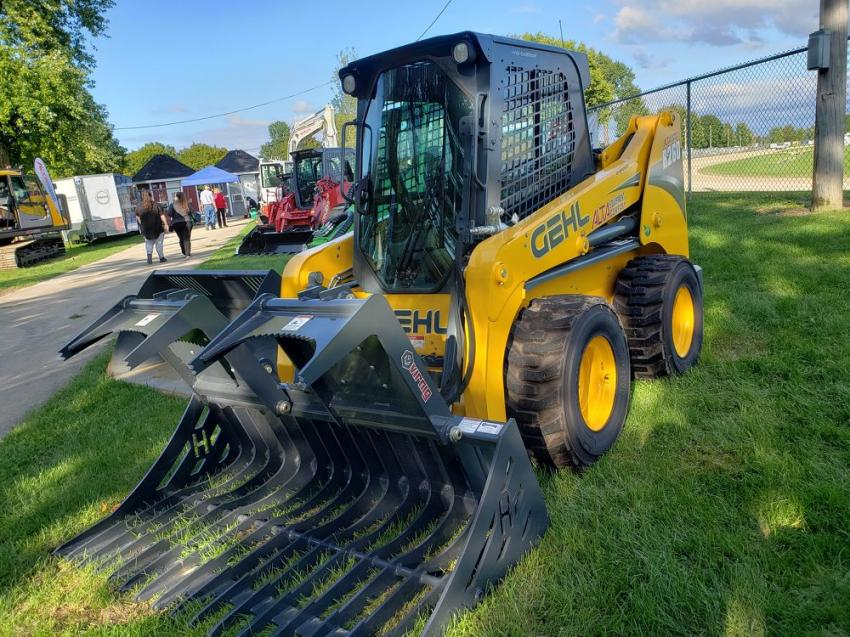 Alta Equipment displayed a wide range of machines including this Gehl R260 skid steer with a Virnig rock grapple.
