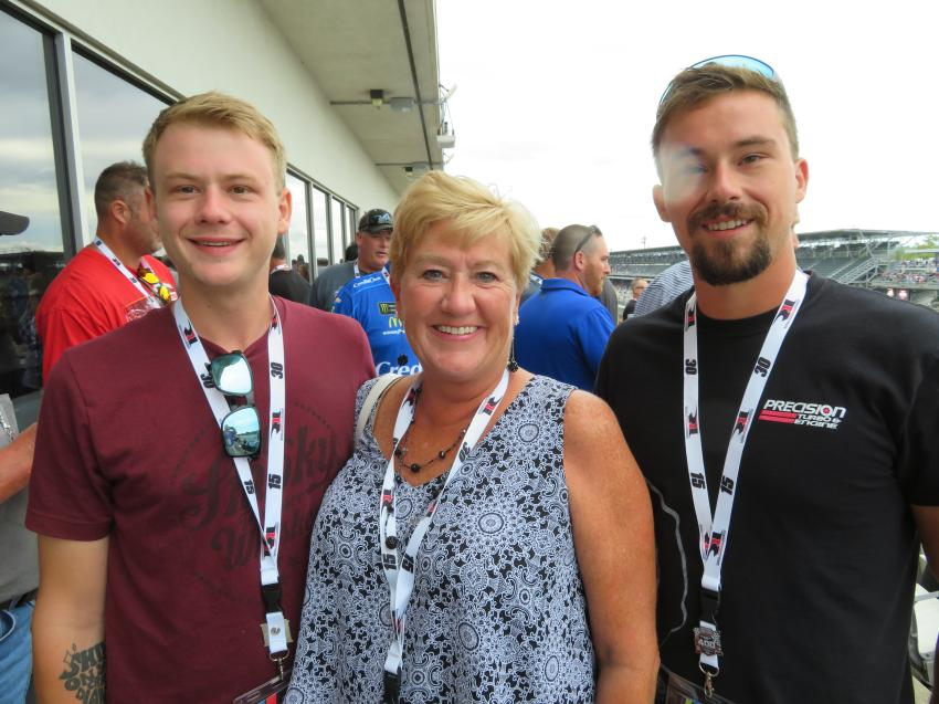 The Cleland family of V&H Excavating having fun at the race (L-R) are Alex, Mom Mary Jane and Neal.