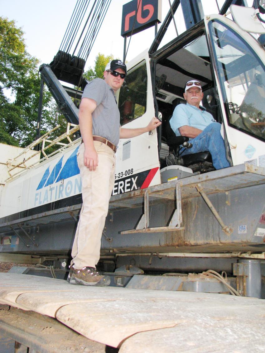Test operating a Terex HC230 lattice boom crawler crane are Turner Jones (L) and Bob Jones of Boring Contractors Inc., Abingdon, Va.