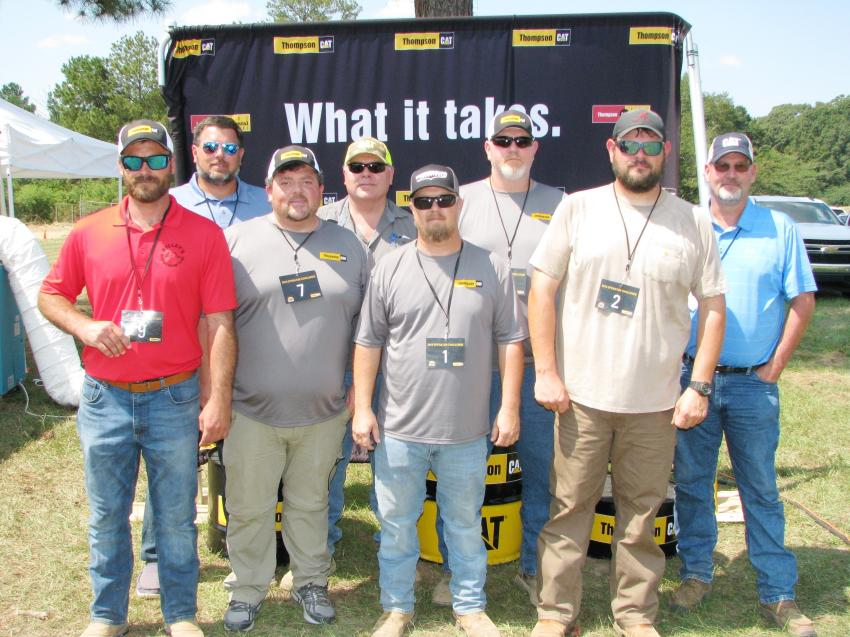 The finals came down to (L-R): Lee Curtis of Kelley's Welding & Excavation, Elberta, Ala.; Jamie Carter of Carter Construction, Lynn Haven, Fla.; Jonathan Womelsdorf of Integrity LLC, Moody, Ala.; Kelly Childers of Carmeuse Lime & Stone, Alabaster, Ala.; Anthony Brooks of Underground Solutions, Hartselle, Ala.; Jonathan Hagood of Stein Incorporated, Decatur, Ala.; Dustin Phillips of M&D Mechanical, Decatur, Ala.; and Jason Hiebert of Ziebach & Webb Timber Co., Monroeville, Ala.