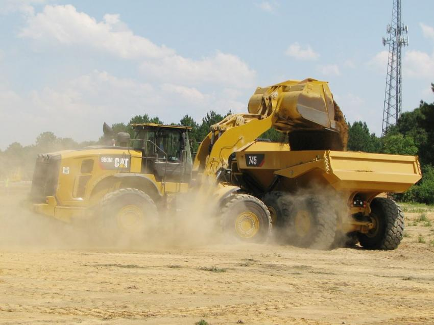 Operating a Cat 980M and kicking up some dirt on his run at the Fully Loaded challenge is Jason Hiebert of Ziebach & Webb Timber Co., Monroeville, Ala.