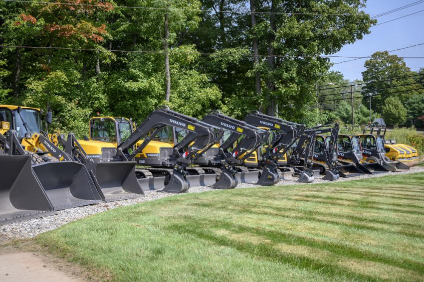 Various Volvo equipment on display at Tyler Equipment in Berlin, Conn.