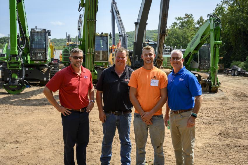 (L-R): Brooke Tyler IV of Tyler Equipment; Glenn Korner and Noah Korner, both of Midstate Site Development; and Doug Ryan of  Tyler Equipment.