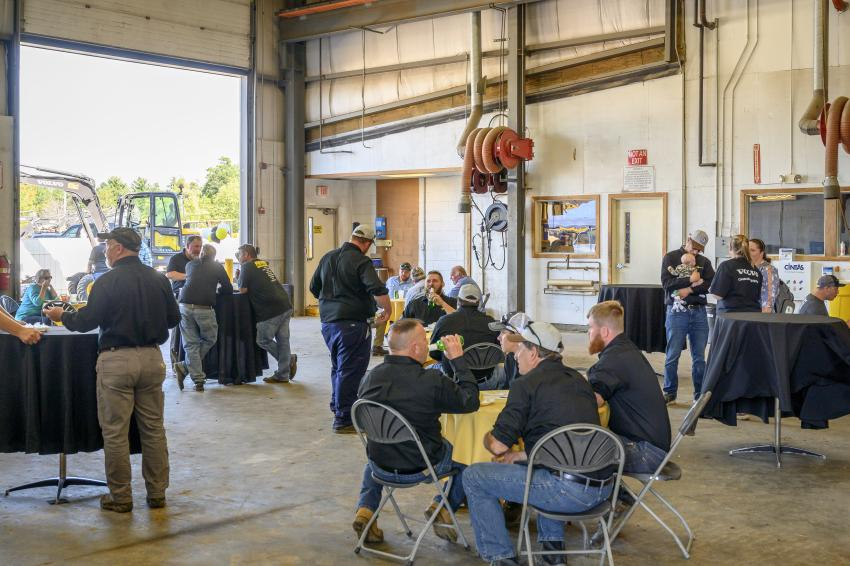 Guests and the Chadwick-BaRoss staff gather in the bays to enjoy lunch.