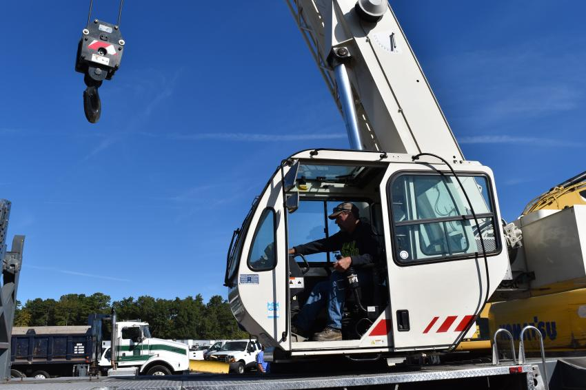 Richard Ward, owner of Wards Crane Service in Colora, Md., tests out a crane before it goes up for bid.