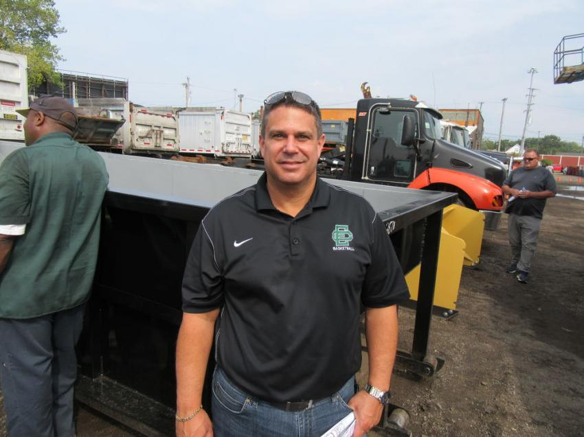 Dominic Piazza of AMG Peterbilt stopped by to take in the auction and watch the bidding activity on the trucks.