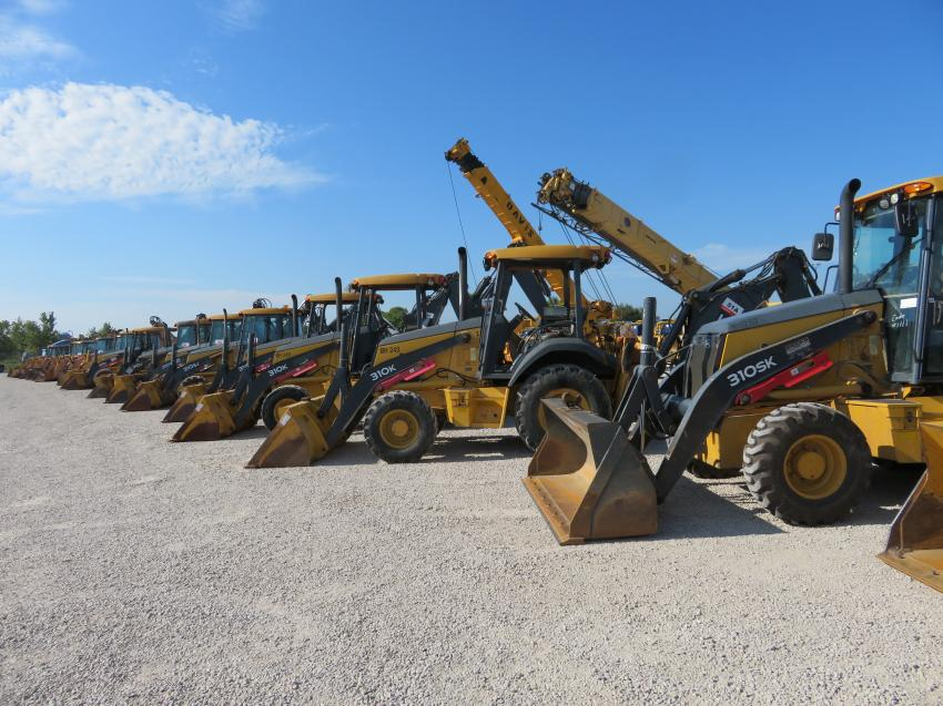 There were plenty of loader backhoes to bid on.