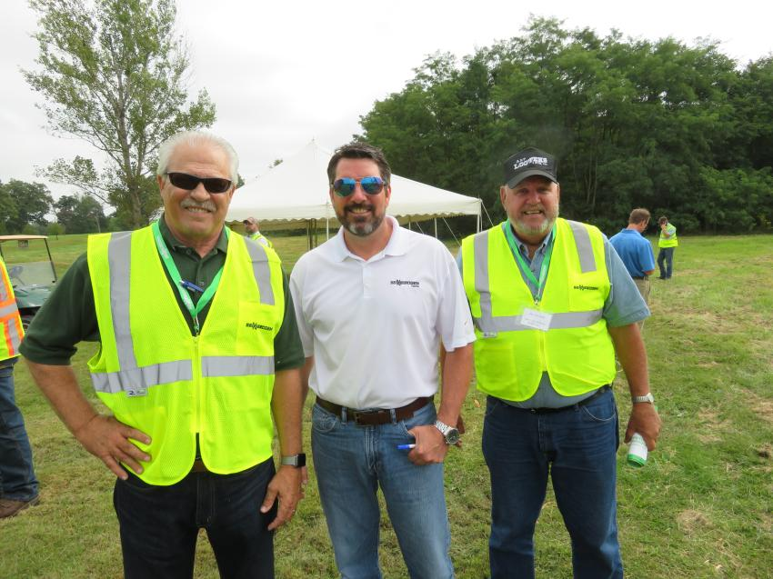 (L-R) are Alan Johnson, area manager of Howell Tractor & Equipment; Mike Myslicki, regional sales manager of Sennebogen LLC; and Jim Lootens, president of Art Lootens & Son Inc.