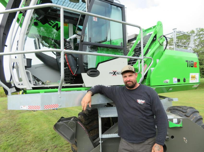 Operator Rob Frost owner of KutTech came all the way from Georgetown, Mass., to operate the Sennebogen718E for the demonstration on Sept. 17. Frost also owns one of these machines.