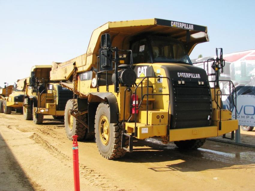 Show stoppers here! A pair of Cat 770 off-road trucks brought in a combined final bid of $610,000 and both are headed to the West Coast.