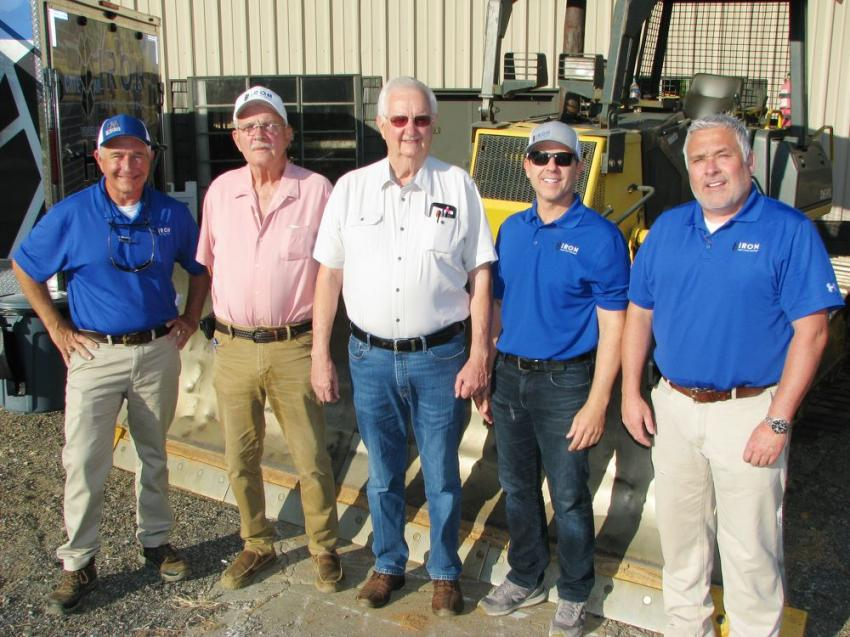 Kicking off the sale are some of the staff of Iron Auction Group with the owner of Ellis Equipment & Grading, (L-R) including Ross McMillan, Andy Richardson, Ronald Ellis (owner of Ellis Equipment & Grading), Mike Finley and Matt McGaffee.
