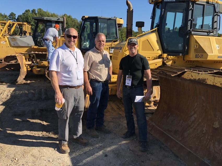 (L-R): Andy Chapman of Linder Industrial Machinery; Barry Reece of Reece Construction in Royston, Ga.; and Gary Fortner of Fortner Grading in Logansville, Ga., were all talking about the Komatsu dozer.
