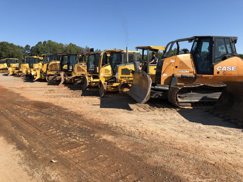 The auction included a wide selection of Case, Cat, Deere and Komatsu dozers.